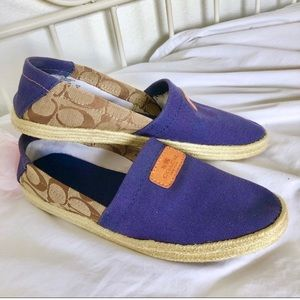 Coach • Authentic Coach Blue Canvas Espadrilles